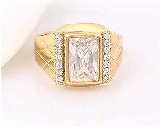 Eshaal Fashion White Crystal With Silver Stones Gold Plated Men Ring (ES002)