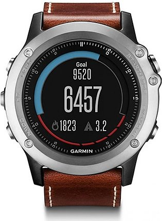 Garmin Fenix 3 Sapphire Running Watch Silver With Leather Band