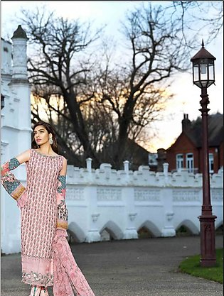 Asim Jofa Embroidered Luxury Lawn Collection 2018 Peach (AJL-05B)