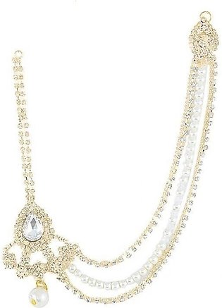 SaharCollection4u Gold Plated White Pearl Matha Patti For Women JH724