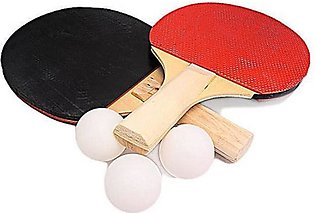 Rubian Table Tennis Racket With Balls - Red & Black