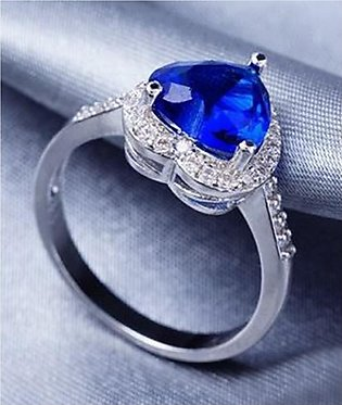 Shoppingmania Sapphire Diamond Ring For Women Silver (0096)