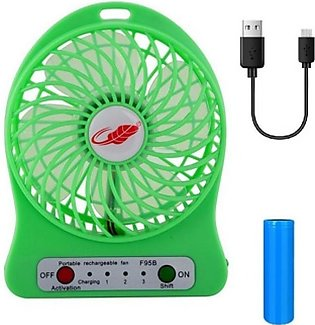 USB Portable Rechargeable Fan For Summer Season Green