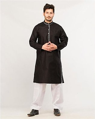 HyperZone Cotton Finish Kurta For Men Black (0026)