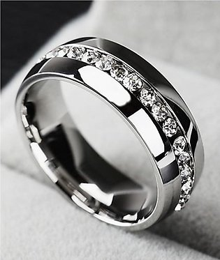 Shoppingmania Platinum Diamond Ring For Women Silver (0082)
