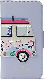 Kate Spade Surf Van Applique Folio Blue Case For iPhone X/XS