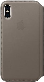 Apple Leather Folio Case For iPhone X - Taupe