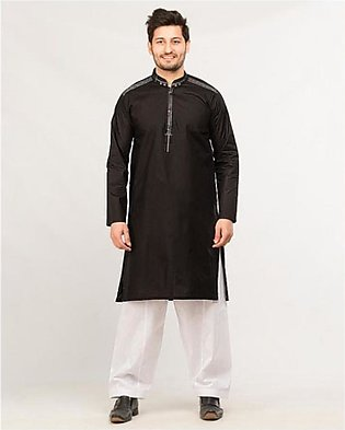 HyperZone Cotton Finish Kurta For Men Black (0022)