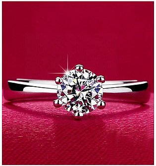 Shoppingmania Crystal Diamond Ring For Women Silver (0094)