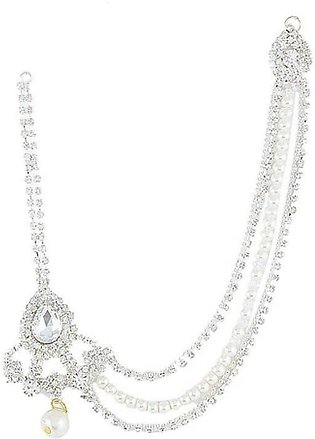 SaharCollection4u Silver Plated Zircons Pearl Matha Patti For Women