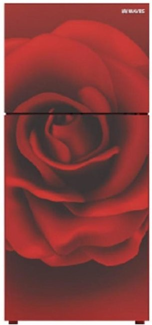 Waves Glass Door Freezer On Top Refrigerator 10 Cu ft Floral Red (WR-310)