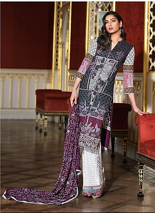 Asim Jofa Embroidered Luxury Lawn Collection 2018 Black (AJL-08B)