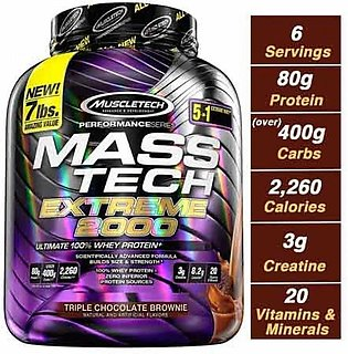 MuscleTech Performance MassTech Extreme 2000 Mass Gainer Triple Chocolate Bro...