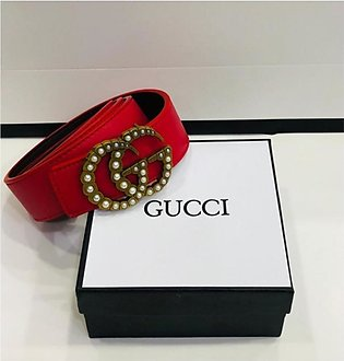 KK Accessories Gucci High Quality Leather Belt For Women Red
