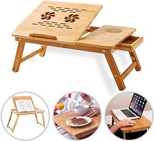 Versatile Foldable Wooden Laptop Table With Cooling Fan
