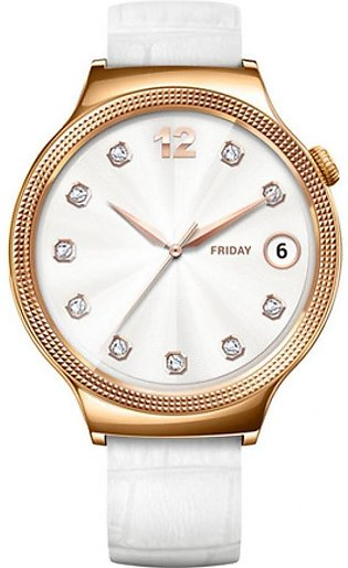Huawei Elegant Women's 44mm Smartwatch Rose Gold with White Leather Band