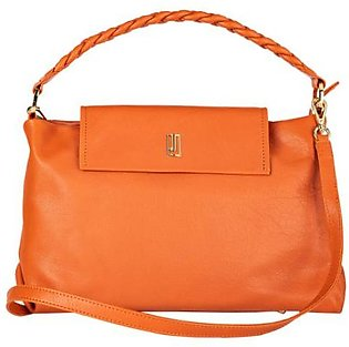 Soft Leather Handbag - Orange Gold