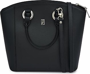 Combination Leather Handbag - Black Silver