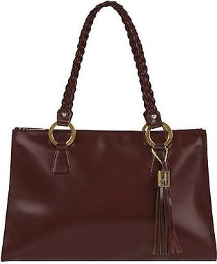 Woven Handle Bag - Maroon Antique Gold