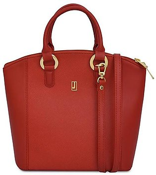 Combination Leather Handbag - Red Gold