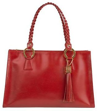 Woven Handle Bag - Red Gold