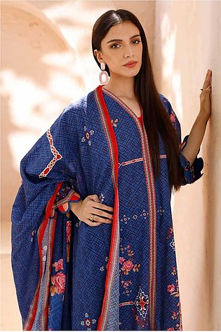 Gul Ahmed 3PC Unstitched Cambric Cotton Printed Suit with Cotton Net Dupatta CN…
