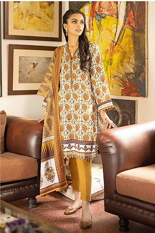 Gul Ahmed 3PC Unstitched Cambric Cotton Printed Suit with Cotton Net Dupatta CL…