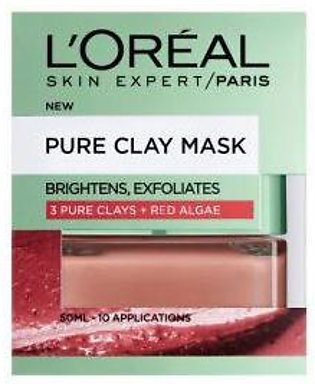 L'Oreal Pure Clay Red Algae Mask - Exfoliating & Smoothing, Red 50ml - 1031 - 3…