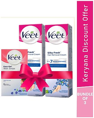 Home Salon kit Free Face Wax Strips with Two Veet Silk & Fresh Cream Sensitiv...