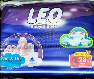 Leo Baby Diapers Soft & Dry   Size 3 (28 Pcs)