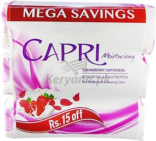 Capri Strawberry Softner White Soap 100 G X 3 Packs