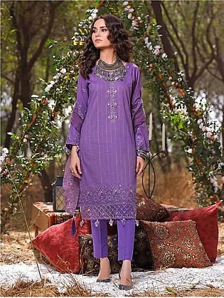 3 Piece Unstitched Embroidered Lawn Suit with Net Dupatta KNE-7021
