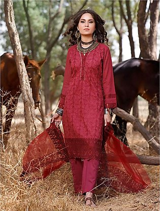 3 Piece Unstitched Embroidered Lawn Suit with Chiffon Dupatta KNE-7020