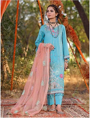 3 Piece Unstitched Embroidered Lawn Suit with Net Dupatta KNE-7017