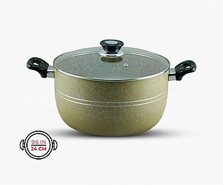 KLASSIC Casserole / Cooking Pot 24Cm with Glass Lid Marble Coated
