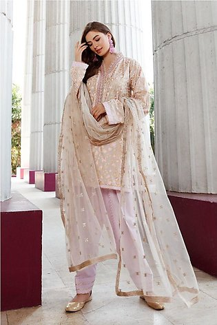 Gul Ahmed Eid 2020 3 PC Embroidered suit with Net Dupatta FE-330 A