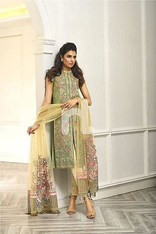 Nishat Linen Winter19 Unstitched 41908005-Poly Net Green Embroidered Luxury U...
