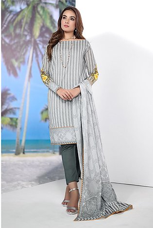 Alkaram Studio Spring Summer Collection 3 Piece Embroidered Suit with Lawn Du...