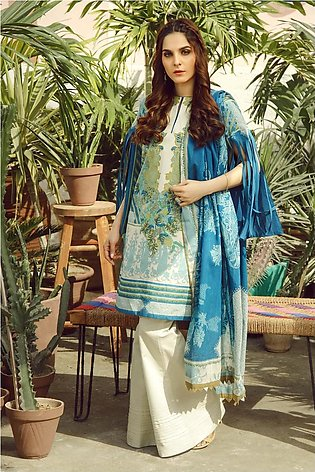 Alkaram Studio SS20 Collection 3 Piece Printed Lawn Suit With Brochia Lawn Du...