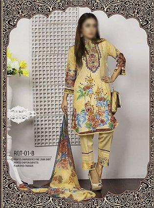 Rangoli Ruqayyah Printed & Embroidered Lawn Collection Vol-2 19 RHS-1B