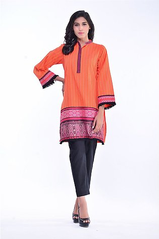 Bonanza Satrangi Orange-Cotton Handloom-Kurti HLLS1P-028-ORANGE