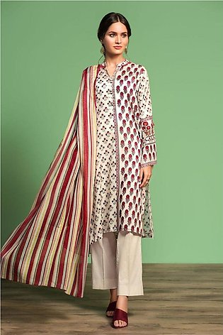 Nishat Linen Spring Summer 20 42001060-Printed Lawn, Cambric Voil 3PC