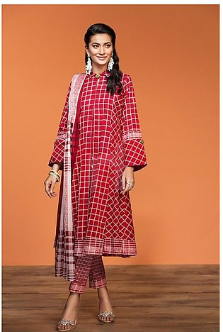 Nishat Linen Spring Summer 20 42001056-Printed Lawn, Cambric Rib Voil 3PC