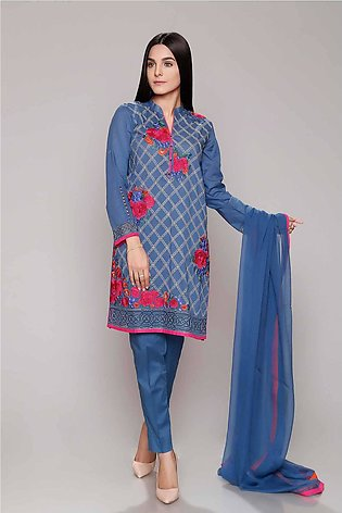 Chinyere Lawn Summer Prints Vol 2 Stitched 3 Piece Suit Exotic in Blue