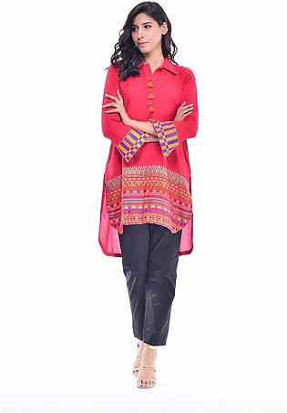 Bonanza Satrangi Red-Cotton Hand Loom -Kurti HLLS1P-025-RED