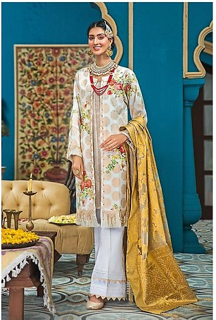 Gul Ahmed Eid 2020 3 PC Embroidered-Suit with Zari Jacquard Dupatta FE-281