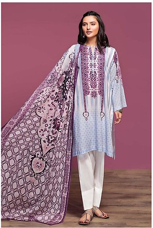 Nishat Linen Spring Summer 20 42001011-Digital Printed Lawn Rib Voil 2PC