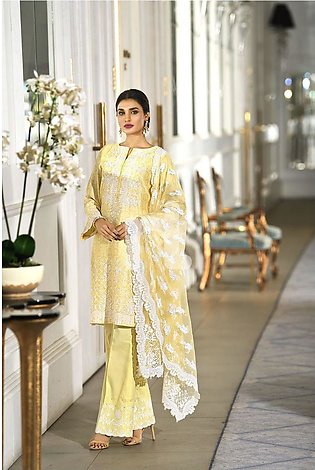 Nishat Linen 41908012-Poly Net Yellow Digital Printed Embroidered Luxury Unst...