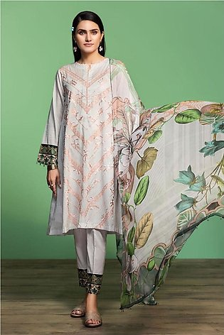 Nishat Linen Spring Summer 20 42001070-Digital Printed Embroidered Lawn, Camb...
