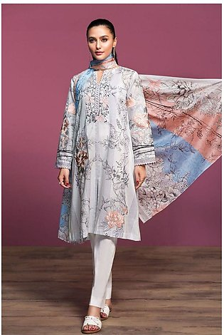 Nishat Linen Spring Summer 20 42001023-Printed Embroidered Lawn Rib Voil 2PC
